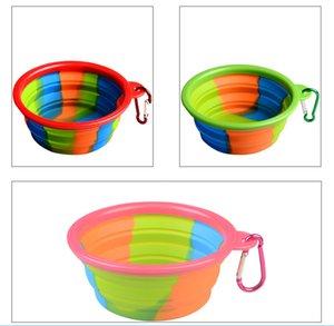 위장 애완 동물 실리콘 그릇 Collapsible 휴대용 접는 강아지 음식 물 그릇 Carabiner와 함께 여행 개를 먹이 용품 애완 동물 용품