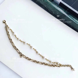 Popular fashion High version Double Pearl bracelet for lady Design Women Party Wedding Jewelry for Bride with BOX.