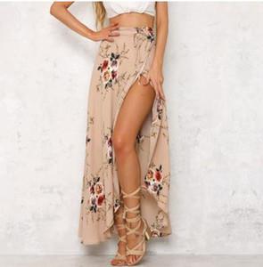 2018 Summer Women Skirt Vintage Blossom Floral Print High Waist Ball Gown Pleated Midi Skater Skirts Saias