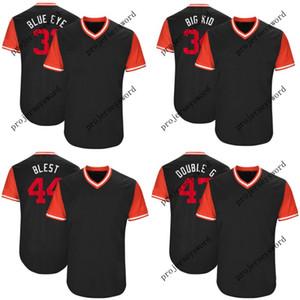 Washington 34 Bryce Harper Big Kid 37 Stephen Strasburg Stras 47 Gio Gonzalez DoubleG 2017 Maglie da baseball del weekend dei giocatori
