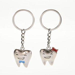 2 Pcs=1 Pair Cartoon Teeth Keychain Dentist Decoration Key Chains Stainless Steel Tooth Model Shape Dental Clinic Gift