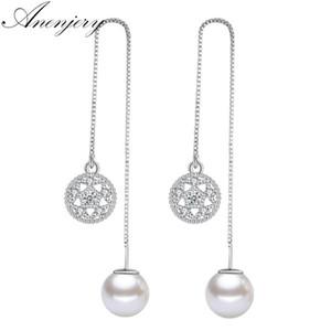Anenjery Micro zircone fiore di loto simulato-perla nappa orecchini per le donne 925 orecchini in argento sterling oorbellen S-E584