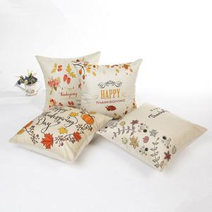Feliz Acción de Gracias del algodón del estilo de lino del amortiguador Fruta deja cubierta impresa caja de la almohadilla para el sofá del coche decorativo del hogar