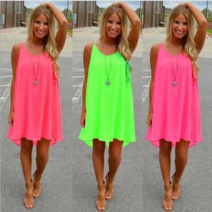 20pcs / lot verano sin mangas color del vestido mujeres sueltan el caramelo ahuecan hacia fuera la señora Mini Beach Estilo Vestidos ocasionales dulces vestidos de gasa