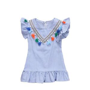 Püsküller ile bebek kız çizgili elbise kolye falbala fırfır kısa kollu prenses elbise çocuklar yaz elbise