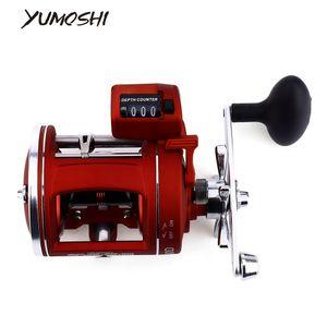 YUMOSHI 12 Rolamentos Carretel De Pesca Esquerda / Direita Trolling Rod Tambor Elenco com Profundidade Elétrica Contagem Multiplicador corpo 2017 novo Y18100706
