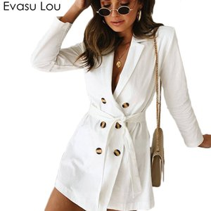 Evasu Lou 2018 New Spring Autumn Women White Double Breasted Long-sleeve Waist Tie Trench Coat Female Casual Thin Coats EV033