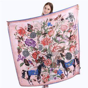 130cm x 130cm Bufanda de seda 100% sarga Mujer España Floral Caballo Cuadrado Bufandas Wraps Office Lady Pañuelo para el cuello Accesorios de moda femenina