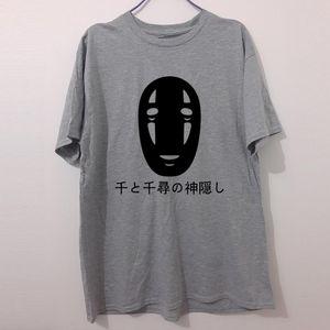 Serin Japon Stili Mektupları Baskı T Shirt Pamuk Kısa Kollu Faceless Harajuku Tişört Yaz Moda Sıcak Satış Tees Tops Ruhların Kaçışı