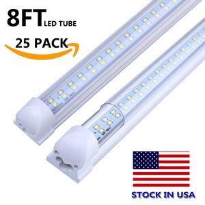 120W 8FT LED T8 V em forma integrada LED refrigerador lateral de iluminação dupla lados SMD2835 384LEDS 8 FT LED FA8 Luzes fluorescentes