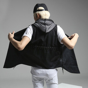 Unique Men's Drawstring Design Coon Pu Leather Vest Fashion Black  Slim Fit Waistcoat