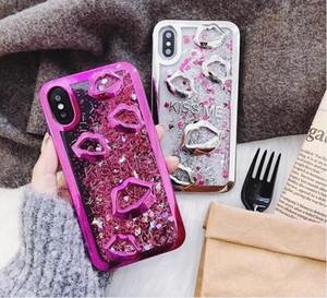 Lábios Galvanizar dinâmico líquido Quicksand telefone de volta capa para iPhone Xs Max XR 8 7 6S Além disso Samsung S10 Além disso Sexy Boca Cover Girls