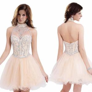 Dos nu col licou clair orange robes de bal rétro organza courte robes de bal courtes modeste nouveau cristal robes mignonnes livraison rapide gratuite