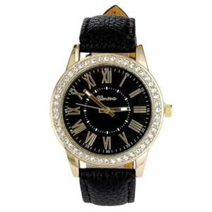Fankris 2018 Geneva Women's Leather Band Roman Rhinestone Quartz Clock Hour Wrist Watch Watches Fashion Dress Waterproof