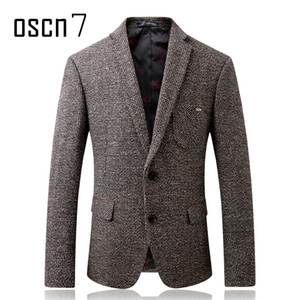 Oscn7 Winter Dicker Woolen Tweed Jacken Männer 2017 Solide Grau Slim Fit Blazer Männer Anti-wear Sleeve Patches Design Herren Blazer