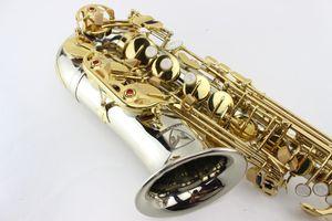 Высокое качество MARGEWATE Латунь труба Тело позолоченный ключ Саксофон альт Eb Tune Sax Pearl Кнопка с мундштуком Case