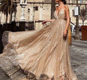 Vestido De Noiva 2018 lentejuelas de moda sexy vestidos largos de baile elegante con cuello en V sin espalda abalorios vestido de fiesta por la noche vestido de oro Celebrity