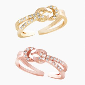 Moda Cz Crystal Infinity Symbol Ring CZ Forever Endless Love Promise Band Ring Eternity Friendship Band Rose Gold para mujeres niñas