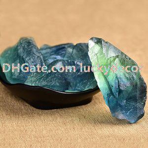 100g Küçük Doğal Yeşil Ve Mavi Florit Çakıl Kristal Kaba Ham Taş Kaya Kesme Kesme için Lapidary Tumbling Parlatma Tel Sarma