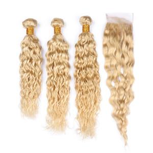 9A Capelli Umani onda 3 pacchi con chiusura in pizzo Blonde # 613 capelli intrecciati con chiusura in pizzo superiore 4x4