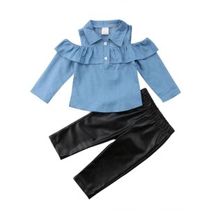 2PCS Toddler Bambini Off spalla Set Neonate Tops Shirt Skinny Leather Pants Outfit Set Clothes 1-6T