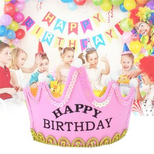 Boy Girl Birthday Hat Giallo Princess Bambini Bambini Compleanno Light Up luminoso LED Crown Lovely King Cap P15