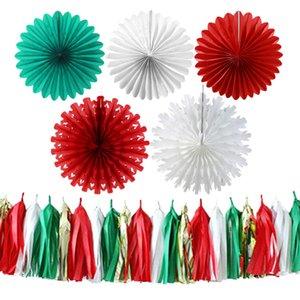 Festa de natal Kit de Decoração De Papel Fan Ribbon Borla Guirlanda Foto Booth Pano De Fundo Vermelho Verde Branco