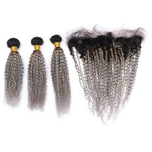 어두운 뿌리 1b 레이스 정면 폐쇄를 가진 회색 Ombre 머리 뭉치 Afro Kinky Curly 브라질 사람 머리는 레이스 정면 자유로운 부속으로 짠다
