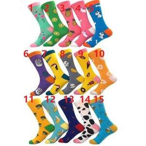 15Designs Lange Fruit Jacquard-Socken Damen-Tide-Socken-Paare langer Schlauch Cotton Socken Cartoon Tiere Farbe Herbst und Winter warm Socken durch DHL