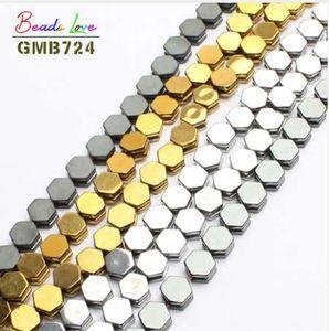 Granos de la piedra natural 10 * 10 * 4 mm Hexagon Gold / Sivler / negro plateado granos de hematita para la fabricación de joyas