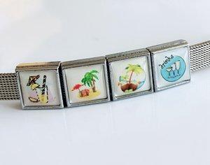 10 pezzi 8mm estate sandbeach stampato fascini scorrevole in plastica quadrata misura braccialetti fai da te 8mm bracciali, cinturini per colletto