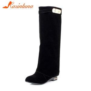 KARINLUNA diseño sólido 3,5 Cm Tacones Zapatos Med decoración de metal Mujer del otoño ocasionales del tamaño de la rodilla-alta botas de Big 32-43
