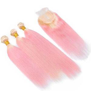 Ombre #613 блондинка персик розовый волос уток расширение с кружевной застежкой розовый шелковистой Прямой 3 пучка девственные волосы ткет с закрытием