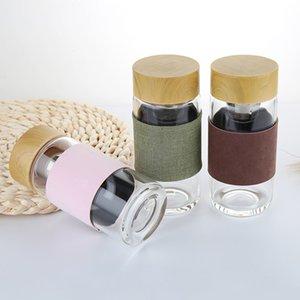 Bouteille d'eau en verre de 400ML avec thé infuseur crépine Résistant à la chaleur Bureau de voiture de boisson Bouteilles Tasses à thé