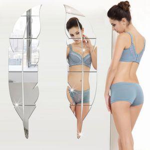 Miroir mural 3D autocollant amovible plume adhésif acrylique Art Stickers muraux Accueil Salon Chambre Salle de bain Décor