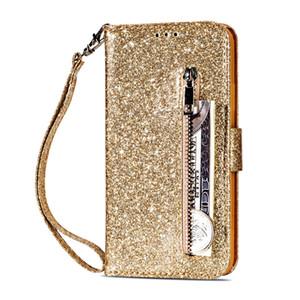 For LG K8 K10 2018 Galaxy J3 J7 2018 A750 Huawei P30 Pro P20 Lite Multifunction Bling Glitter Leather Wallet Case Zipper Sparkle Flip Cover