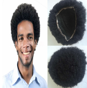 Top Selling Stock Afro Curl Toupee para Basketbass Players y Basketball Fans Full Lace Peluca para hombres Brazilian Virgin Human Hair Free