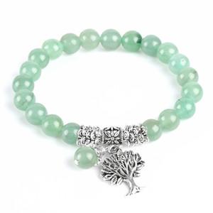 Neue Meditation Green Aventurine Frauen Armbänder Naturstein Yoga Mala Gebet Rosenkranz Heilung Reiki Baum des Lebens