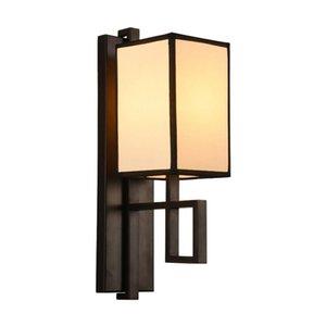 Lámparas de pared del balcón de la sala de estar del pasillo de la sala de estar de la tela del hierro negro chino de OOVOV Lámparas de pared del balcón, E14, H42cm