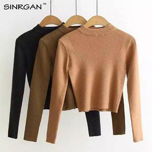 SINRGAN Suéteres de Las Mujeres Pullovers manga Larga de Punto sólido de Las Mujeres Suéter Femenino corto de invierno Bottoming mujeres chaqueta femenina