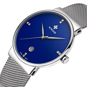 wengle новый WWOOR мужчины сетки пояса простой календарь дата День водонепроницаемые воды доказательство имитация Алмаз серебристые кварцевые часы