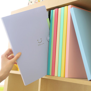New 4 Color A4 Kawaii Carpetas Filing Supplies Smile Waterproof File Folder 5 Layers Document Bag Office Stationery