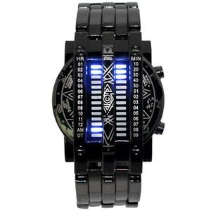 Moda orologio elettronico di lusso militare Iron Man Concezione LED Digital Blue orologio di sport Mens Full Acciaio Orologi Relo