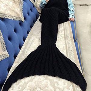 Fio macio De Malha Sereia Cauda Cobertor Crianças Adulto Meninas Jogue Cama W-rap Saco de Dormir de Peixe Tubarão Cauda Tapete
