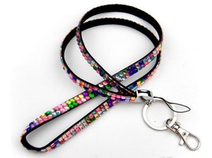 hot selling 300pcs Bling Lanyard Crystal Rhinestone in neck with claw clasp ID Badge Holder for Mobile phone mix 34 colors
