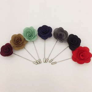 2019 Hot Lapel Flower Man Woman Camellia Handmade Boutonniere Stick Brooch Pin Men's Accessories in 7 Colors
