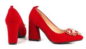 Livraison gratuite Hot New style 2018 chaussures de mariage femmes talon haut pointu rouge mariée chaussures eau foret chaussures à talons grosses talon 5 cm, 7 cm, 9 cm