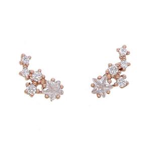Nouvelle arrivée bijoux coréen brillant cubique zircone cristal étoile boucles d'oreilles en argent sterling 925 boucles d'oreille pour les femmes filles cadeaux