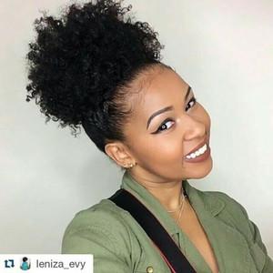 100 cheveux humains topper naturel kinky bouclés court Afro feuilletée cordon de queue de cheval clip en extension de cheveux 120g 12inch