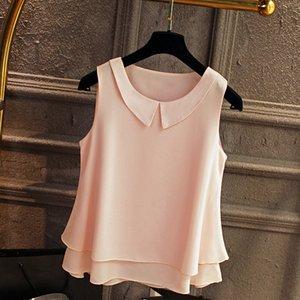 Banerdanni Mujeres camiseta sin mangas de la nueva llegada 2018 blusa de la gasa ocasional del verano collar de Peter Pan blusas de gran tamaño Mujer Camisa Y1891302